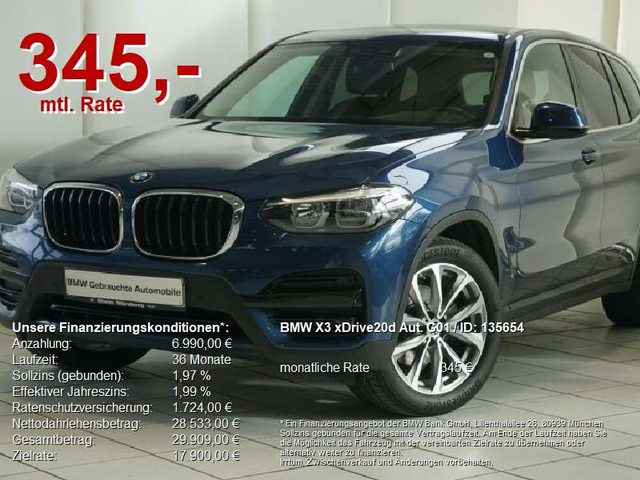 BMW, X3, xDrive20d Aut. G01 Advantage HuD/AHK/Standh./