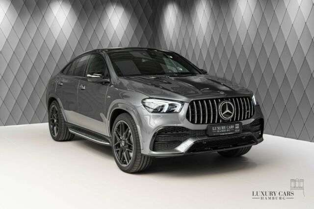 GLE 53 AMG, COUPE, GREY/RED, PANO, DIST, CARBON